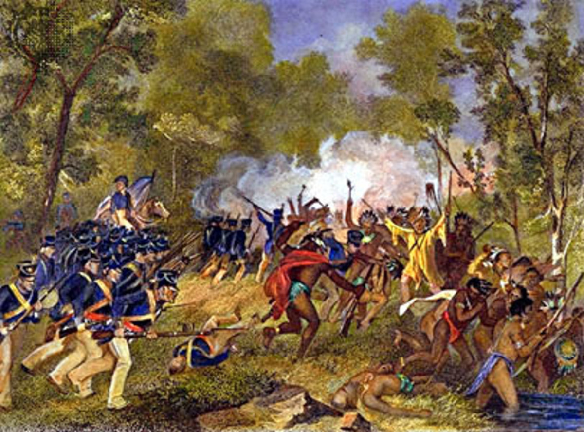 Americans defeat the Prophet at the Battle of Tippecanoe by unknown artist.