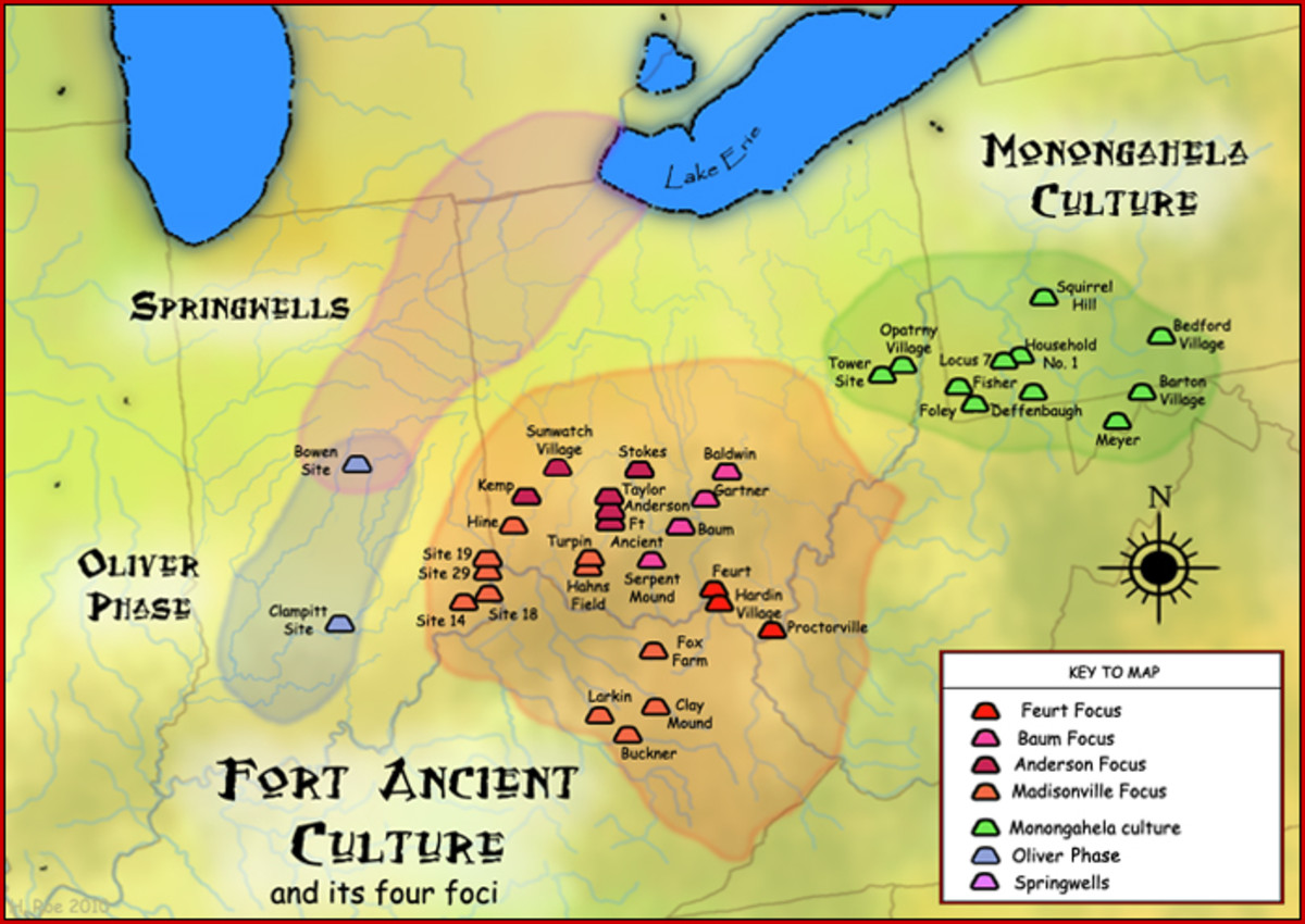 The Shawnee were direct descendants of the Fort Ancient People who flourished from around 1200 A.D. to about 1650, their villages were often arranged in rows around a central plaza, and sometimes were enclosed within earthen log fortifications.