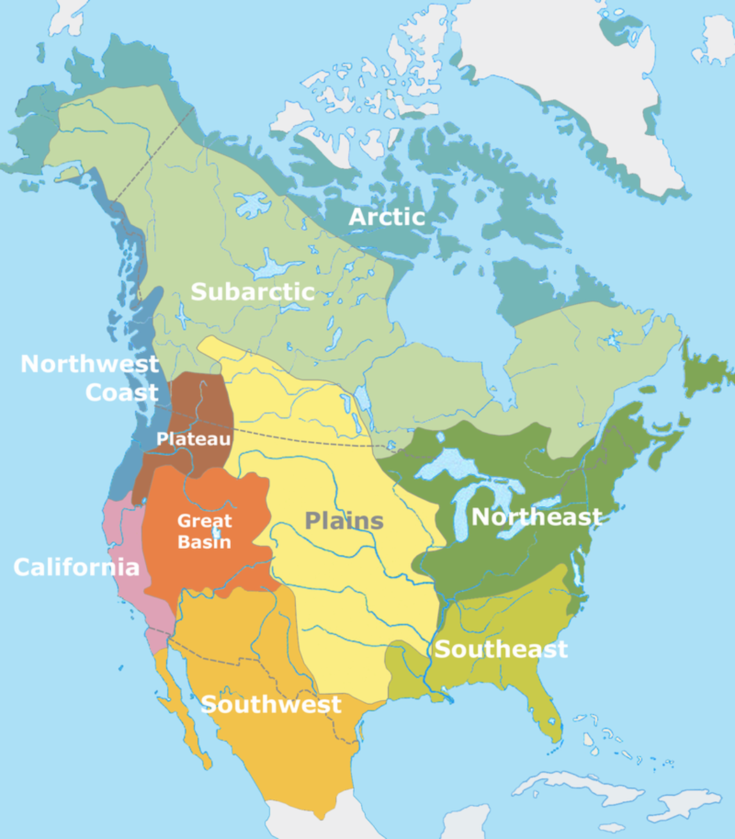 Map of North America's Cultural Areas before European contact.