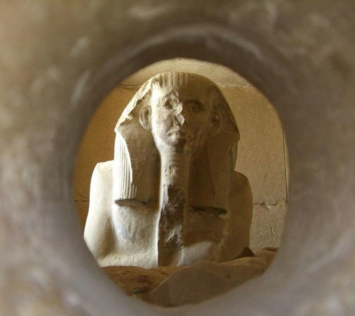 A look into the serdab at the Ka statue of  king Djoser