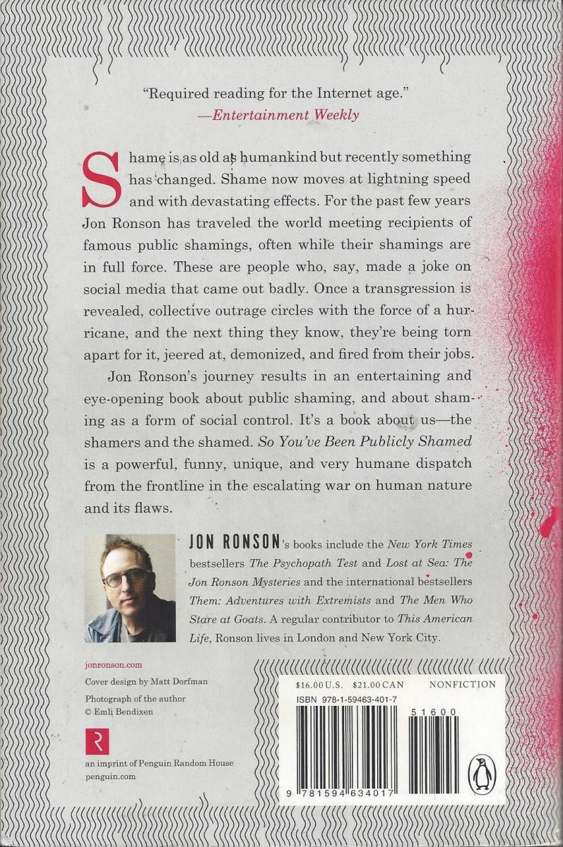 Back Cover of the Book by Jon Ronson