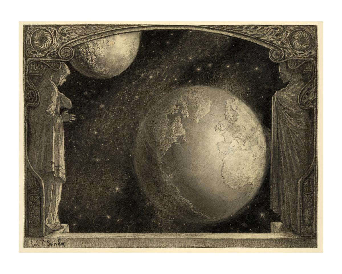 Milky way , Earth, and Moon