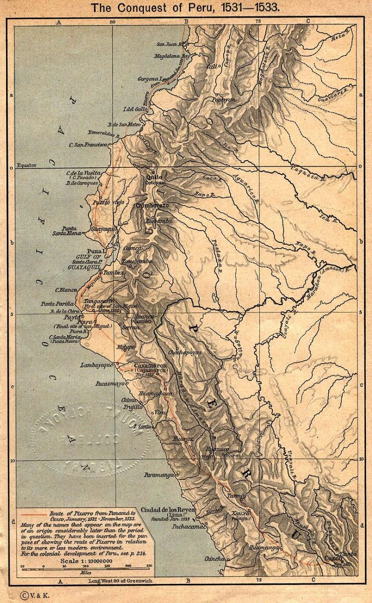 Map of Pizarro's march through the Inca's Empire.