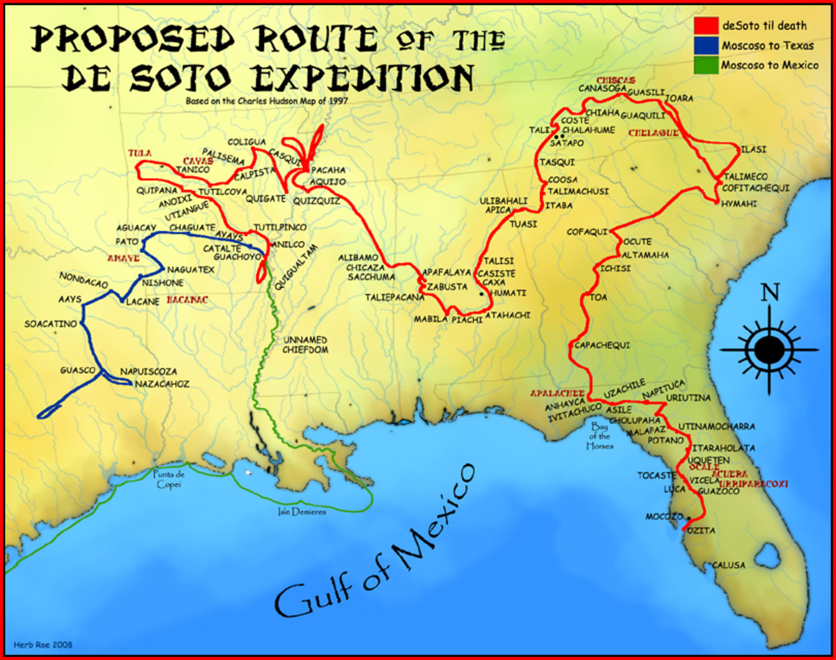 On May 30, 1539 De Soto lands at what is today Tampa Bay with 650 men. Charles Hudson map 1997