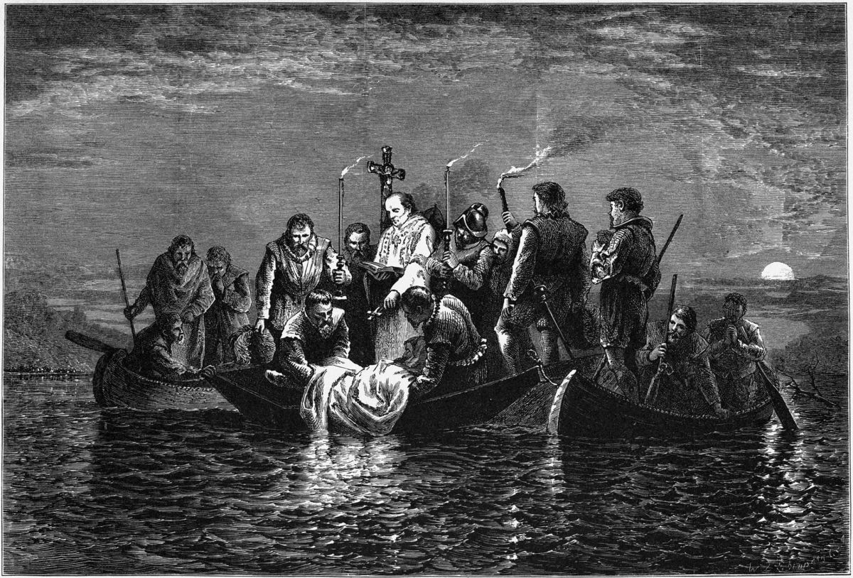 On May 21,1542 De Soto's men bury him in the Mississippi River.
