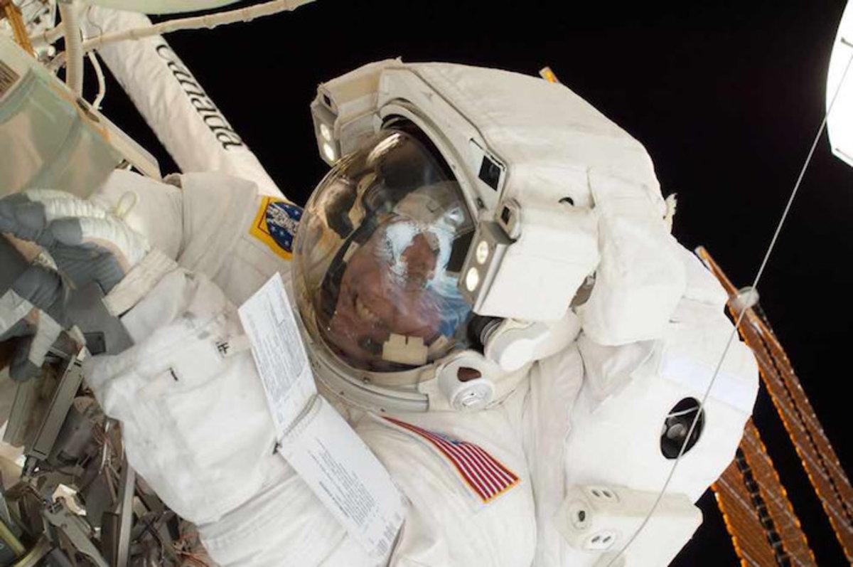 Astronaut Michael Fincke Busy with a Spacewalk Repair Mission