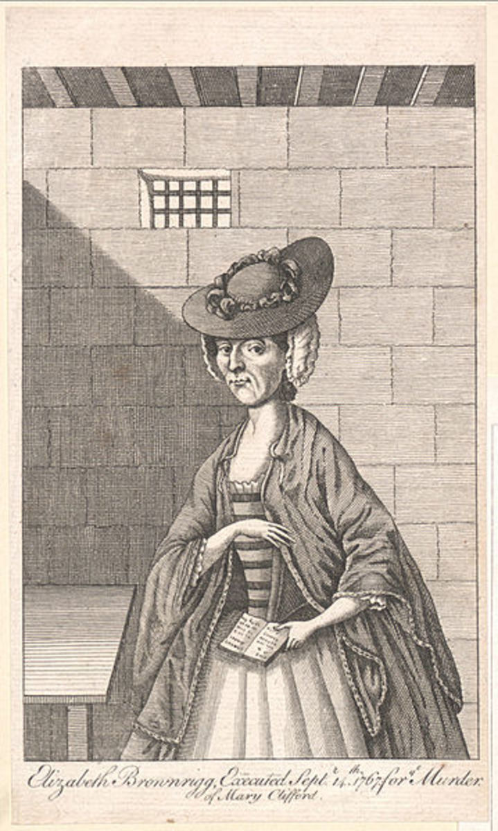 Elizabeth Brownrigg waits in her cell, prayer book in hand, for the executioner to take her to Tyburn.