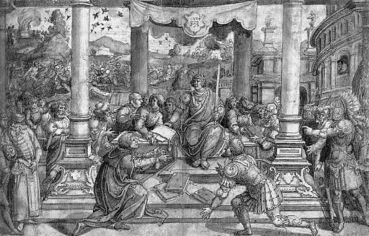 Romulus Gives Laws to the Roman People. 15th century image by Bernard van Orley.