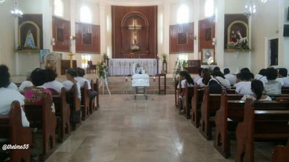 The funeral Mass ceremony  in the  church.