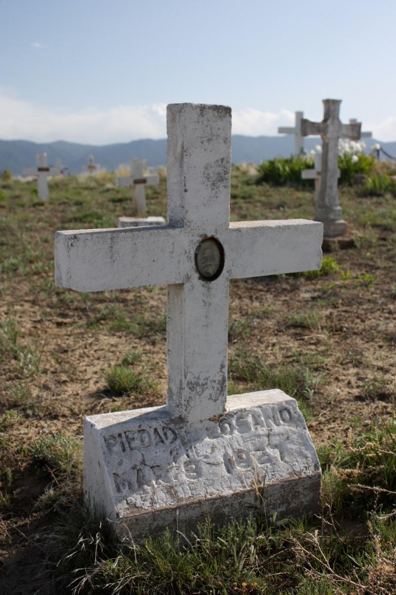 Hand-made headstones at the San Juan Bautista Cemetery