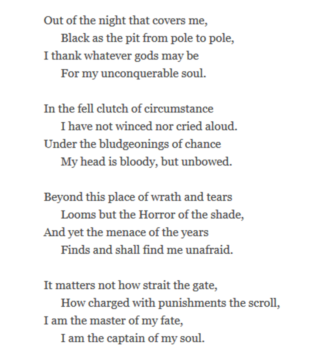 "poem invictus analysis 2/25/10 invictus analysis ""invictus"", by william ernest henley, is a very powerful, well written, and detailed poem after reading this poem several times, you can tell the speaker is going through pain."