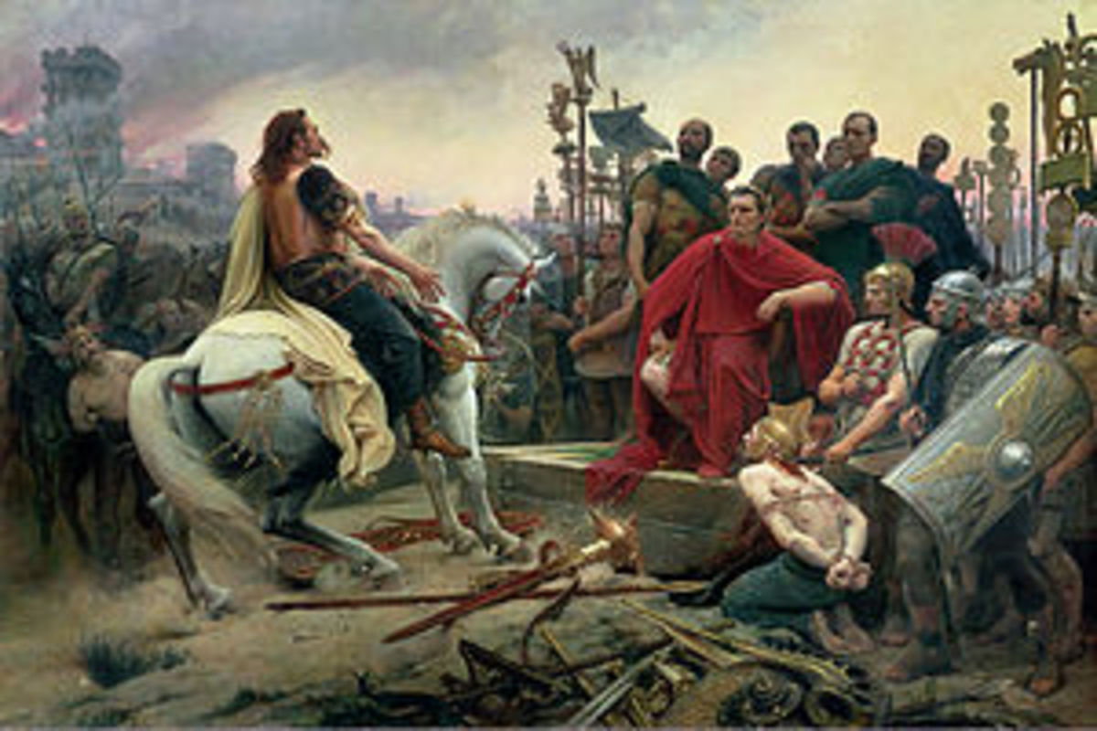 "In 46BC Caesar offically conquers Gaul when he defeats Vercingetorix and the Romans new ""barbarian"" enemies become the Germans. However notice how ""civilized"" Vercingetorix is depicted versus the other Gauls."