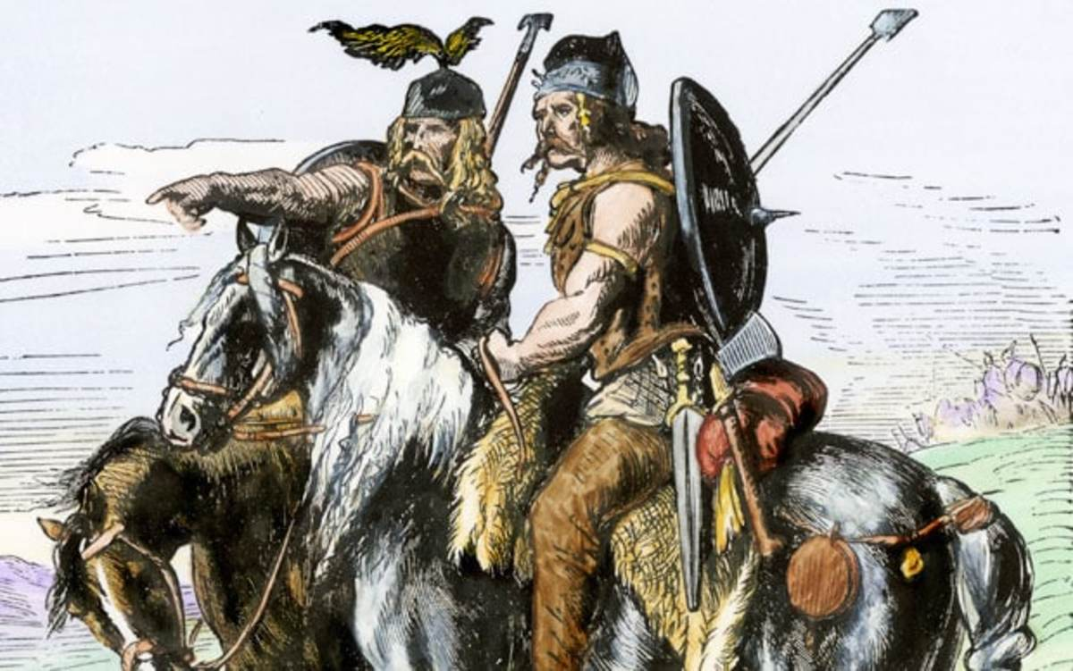 The common description of the tall, blonde, savage Gauls, or even worse the vicious Germans. Notice the pants, how barbaric!