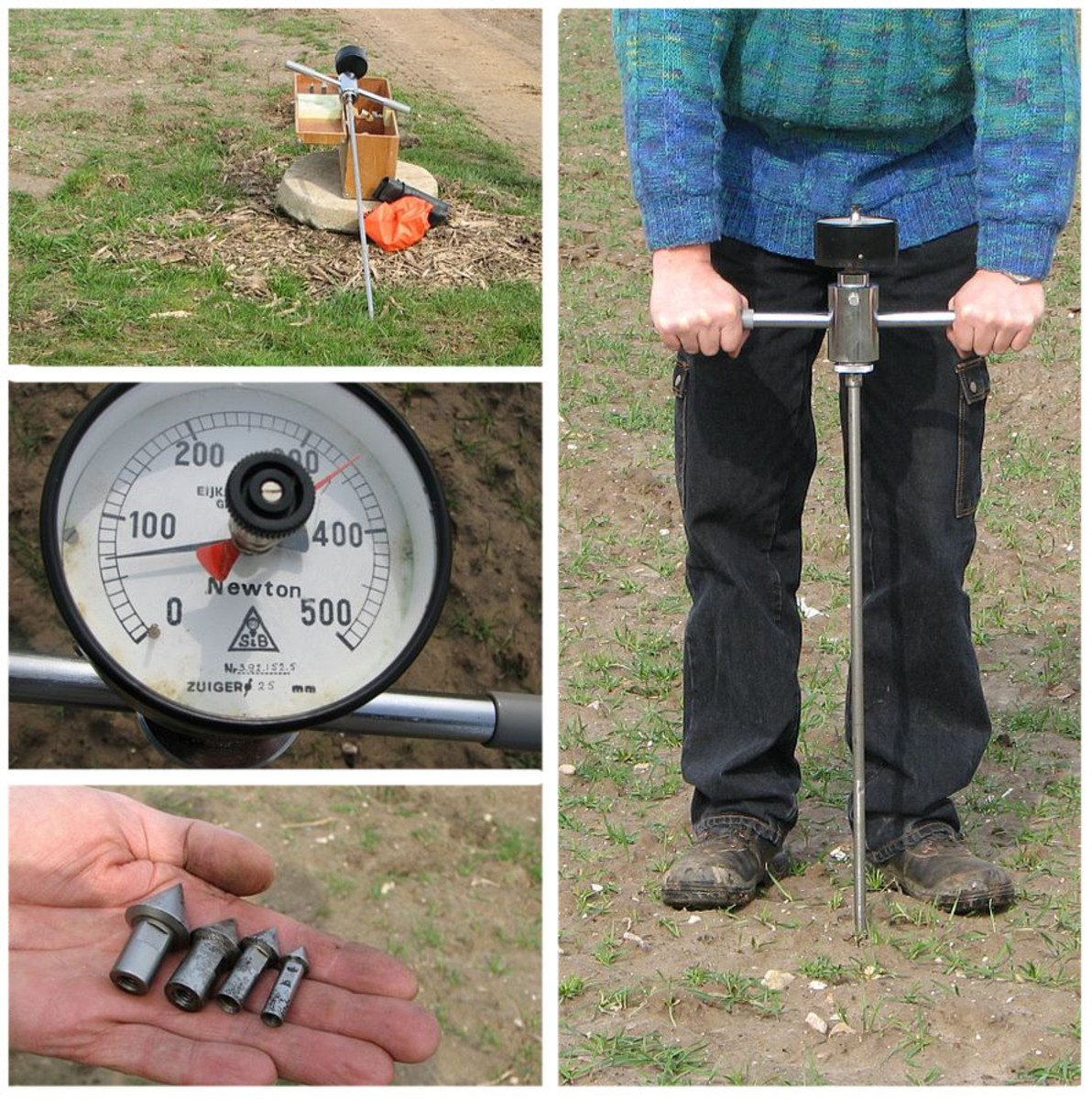 Testing soil compaction with a soil penetrometer.