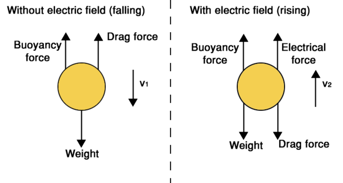 The different forces acting on a oil drop falling through air (left) and rising through air due to an applied electric field (right).