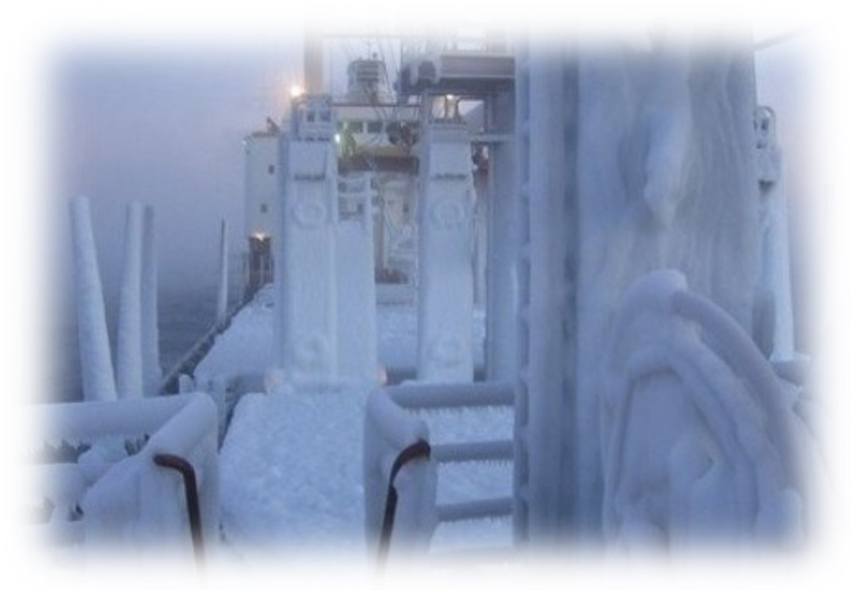 Freezing conditions on ships in Archangel from October to April each year.