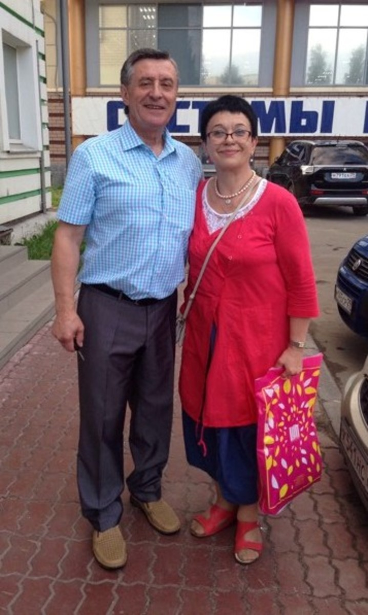 Stepan on his 70th birthday in July 2016 with Russian journalist Olga Golubtsova.