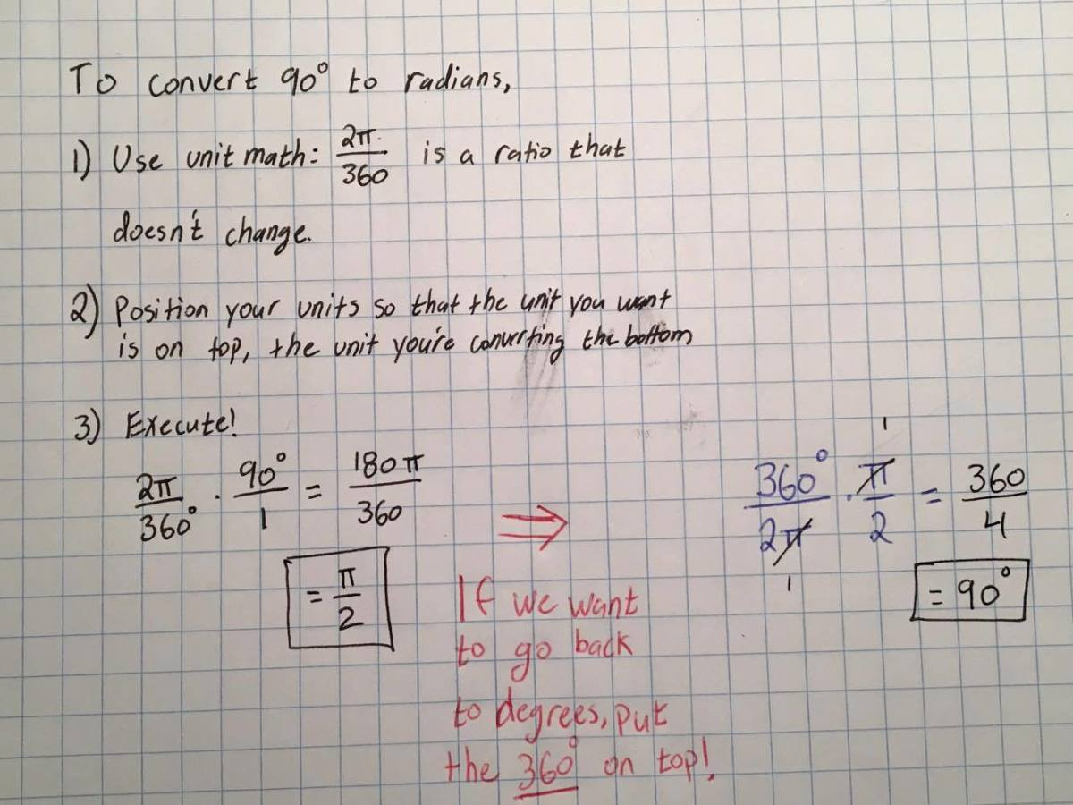 Converting from degrees to radians (and vice versa)