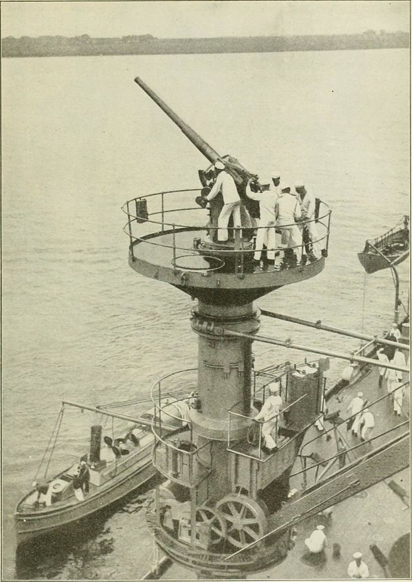 One of Texas' 3-inch anti aircraft guns. This gun no longer stands on the ship, only its empty platform.