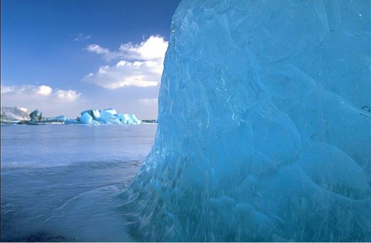 Blue ice occurs when snow falls on a glacier, is compressed, and becomes part of the glacier.