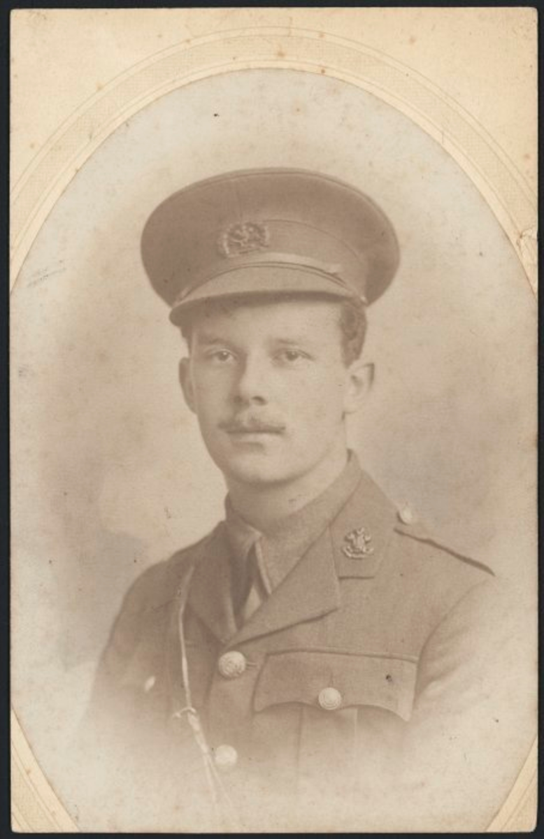 "Leslie Heron Beauchamp (1894-1915), brother of Katherine Mansfield, in the uniform of the South Lancashire Regiment.  There is a clear echo of her brother's sufferings in the trenches in the story ""The Fly"""