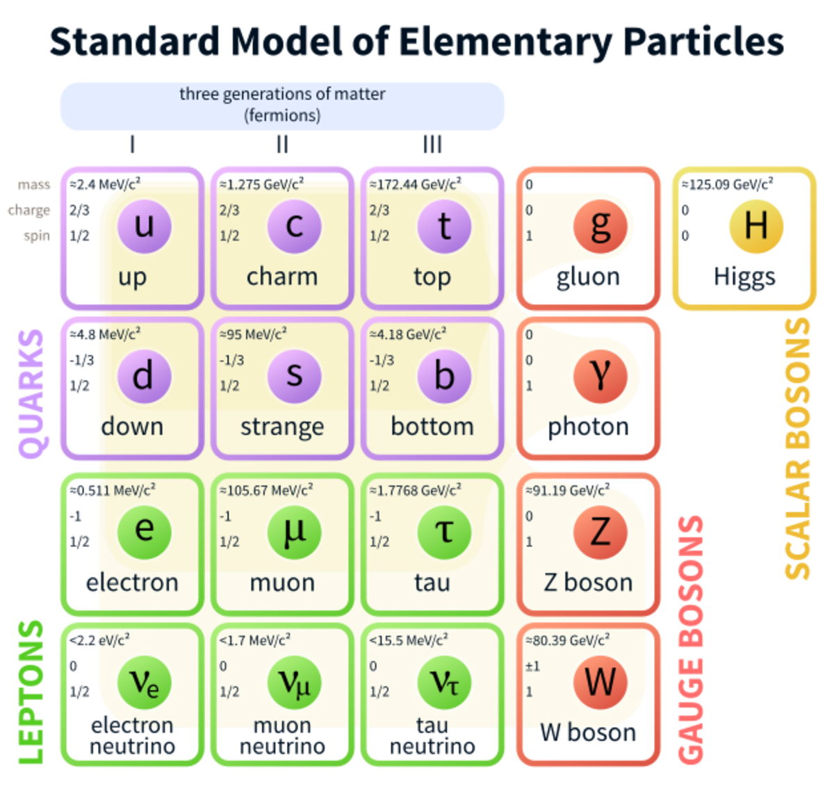 A table showing all of the elementary particles in the standard model. Remember that all the leptons and quarks have a corresponding antiparticle.