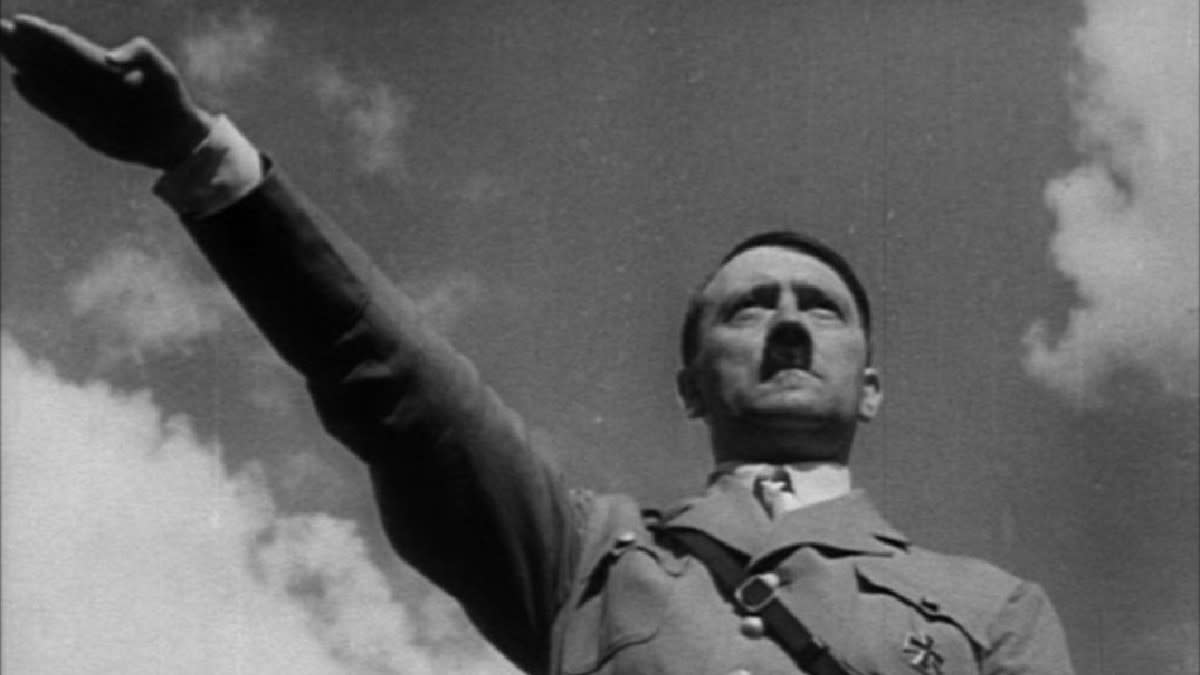 The iconic image of Hitler from Triumph of the Will. Reni Leifenstahl used a masterful understanding of cinematic techniques to portray Hitler as a powerful savior of the people.