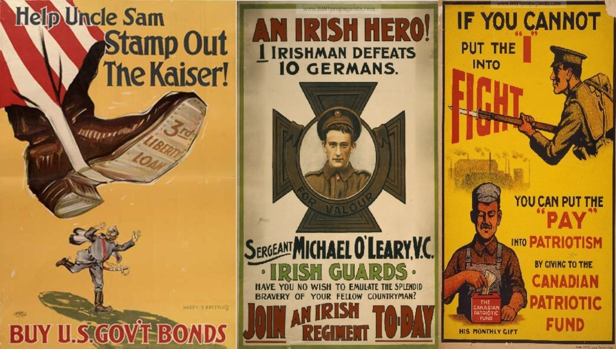 American, Irish and Canadian call to action propaganda posters.