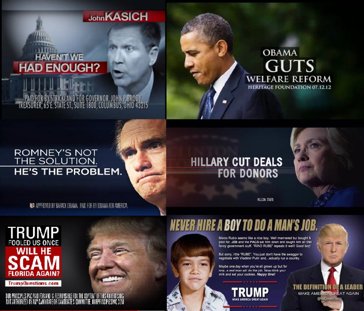 Political attack ads - Marco Rubio, Hillary Clinton, Donald Trump, Barack Obama, Mitt Romney, John Kasich