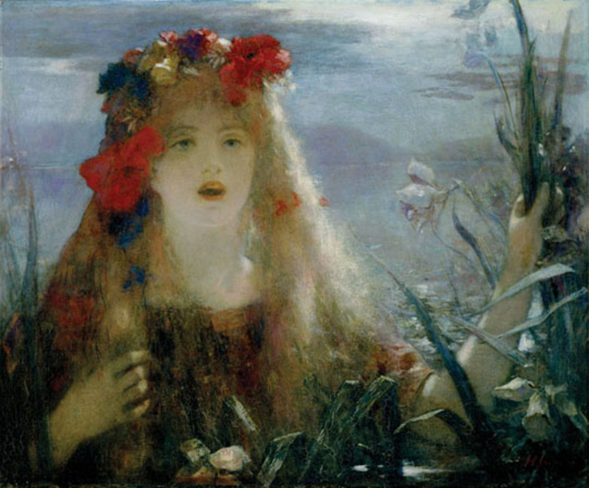 Nellie Melba as Ophelia in the opera Hamlet by Ambroise Thomas.