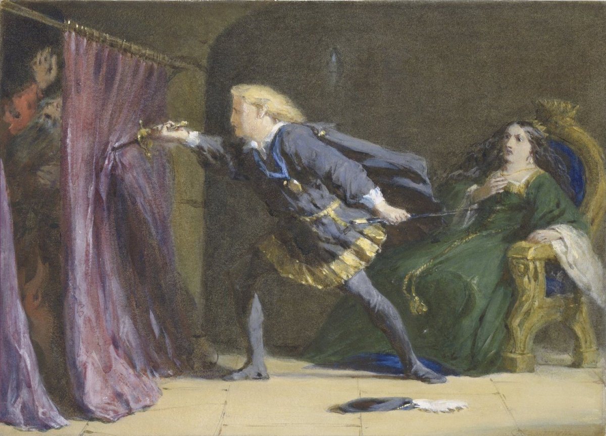 A watercolor of Hamlet, Act III, Scene iv: Hamlet makes a pass through the arras. by Coke Smyth