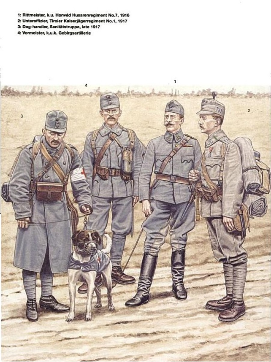 While Austro-Hungarian troops had the misfortune of trying to conduct bayonet charges against superior enemy troops, at least they did so in uniforms which weren't designed to draw fire... unlike the French.