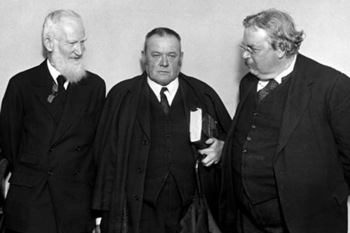 Hilaire Belloc (centre) with his friends G.K. Chesterton (right) and George Bernard Shaw (left).