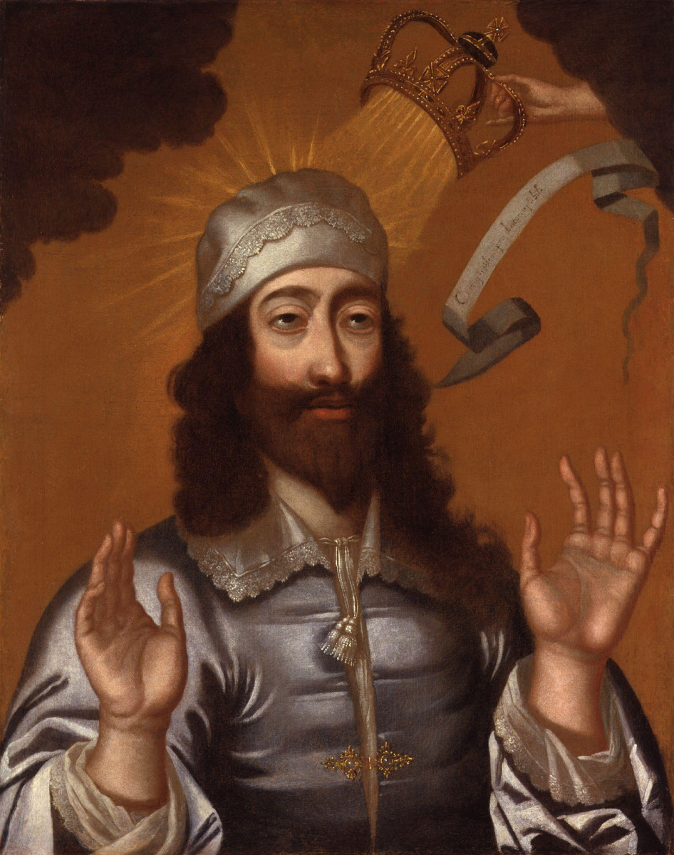 A divine hand moves the crown of Charles I : the divine right of kings was not merely a device to strengthen kings, but their entire legitimacy and system of government rested upon it. When it collapsed in France, so did the ancien regime.