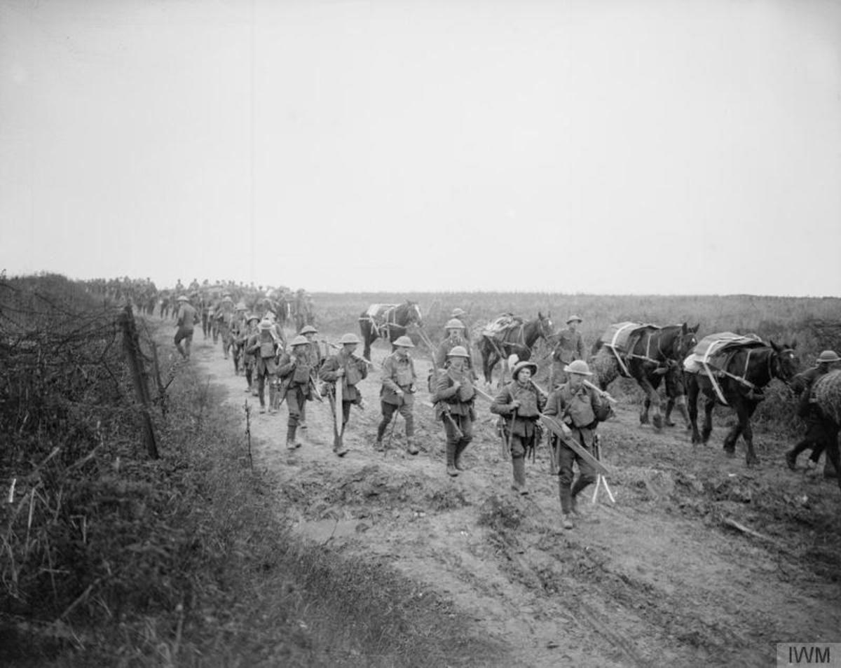Irish riflemen head up to the front line to take part in the Battle of Cambrai.