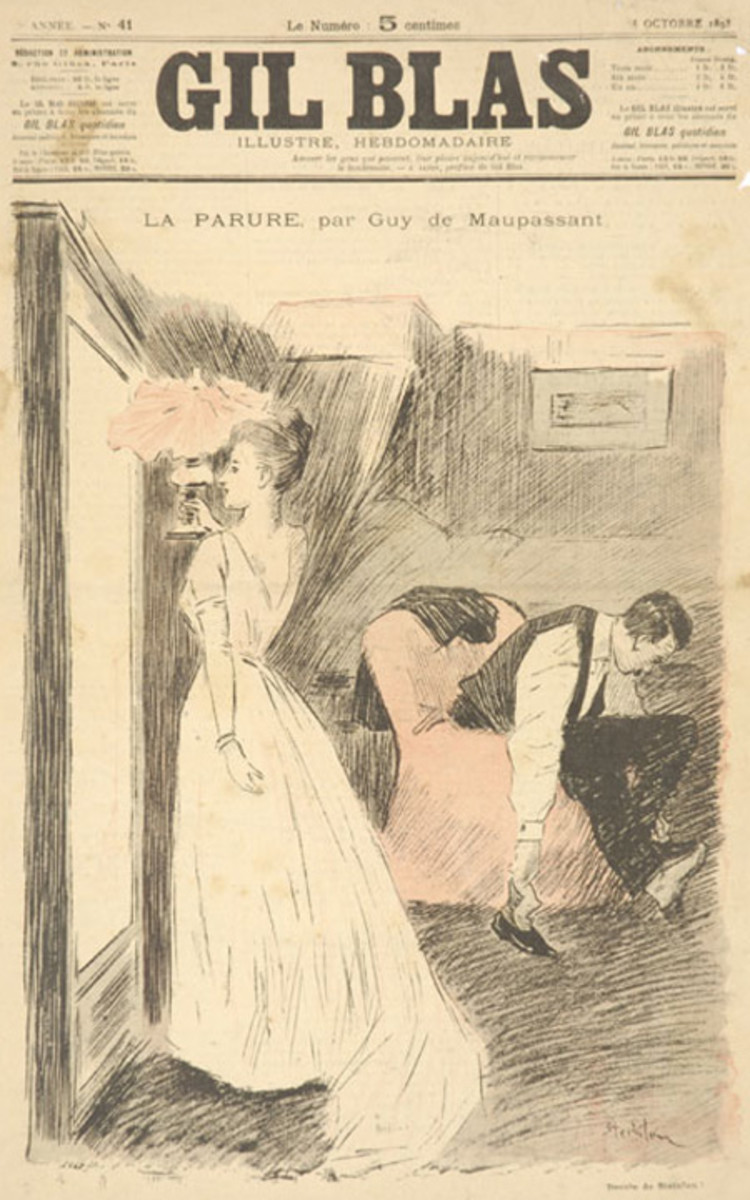 Cover of Gil Blas Illustré, drawn by Théophile Steinlen, illustration for the short story The Necklace (La Parure) by Guy de Maupassant. 8 October 1893