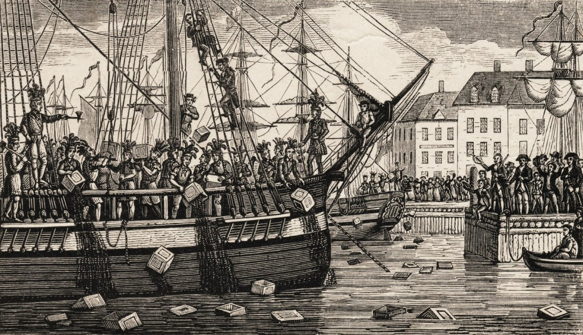 During the Boston Tea Party, dissidents from the city of Boston boarded a cargo ship and tossed all the tea into the Boston harbor.