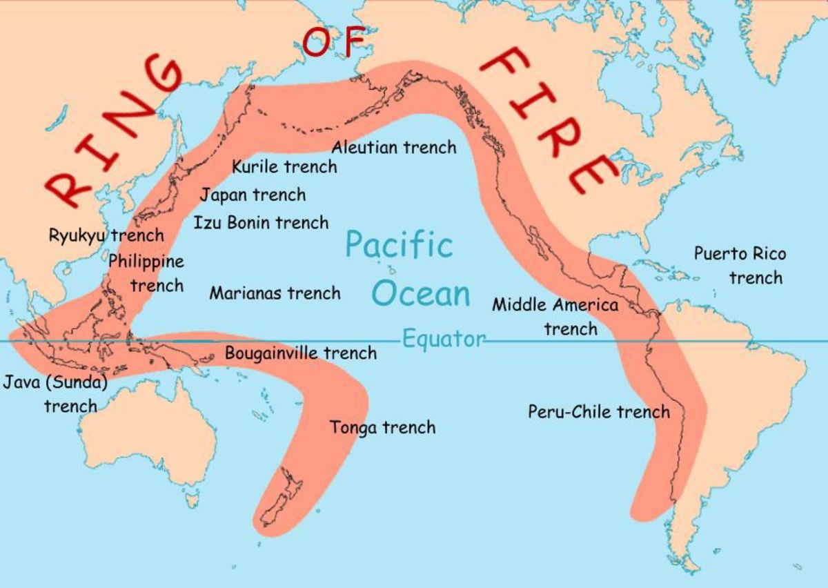 The Ring of Fire occurs along the edge of the Pacific Ocean