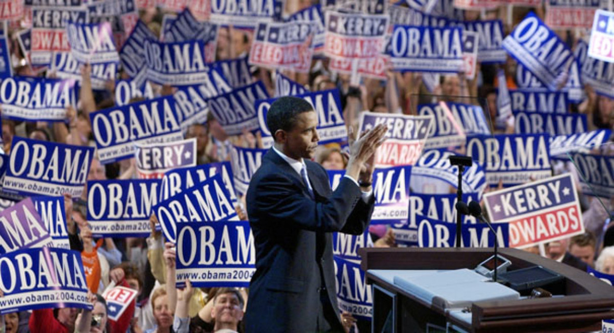 Obama speaking before the 2004 Democratic Convention in Boston.