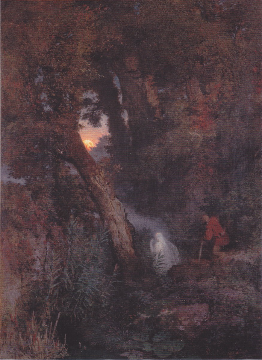 1882 oil painting  by Arnold Bröcklin , depicting a will o' the wisp, otherwise known as a fen-fire or a jack o' lantern