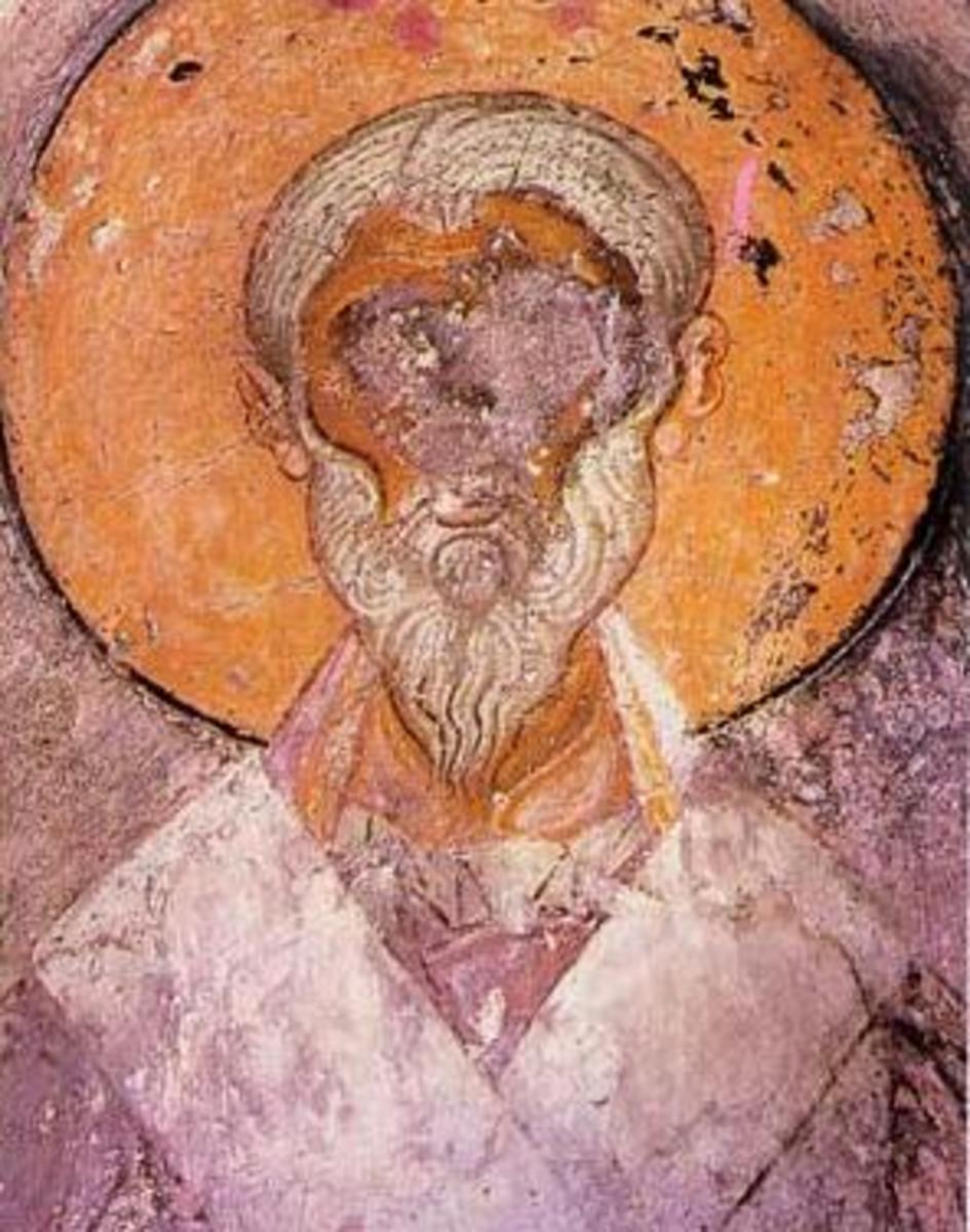 A damaged depiction of Alexander, Bishop of Alexandria