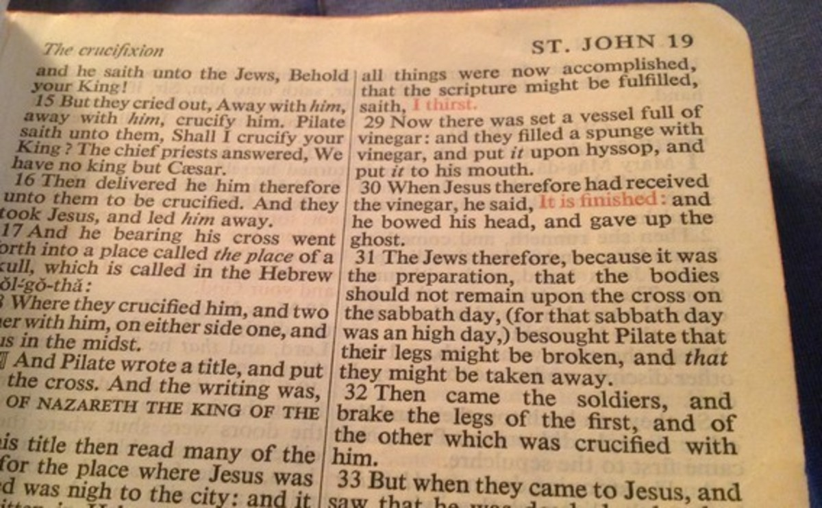 """""""I thirst' and """"It is finished"""" in the Gospel of John."""
