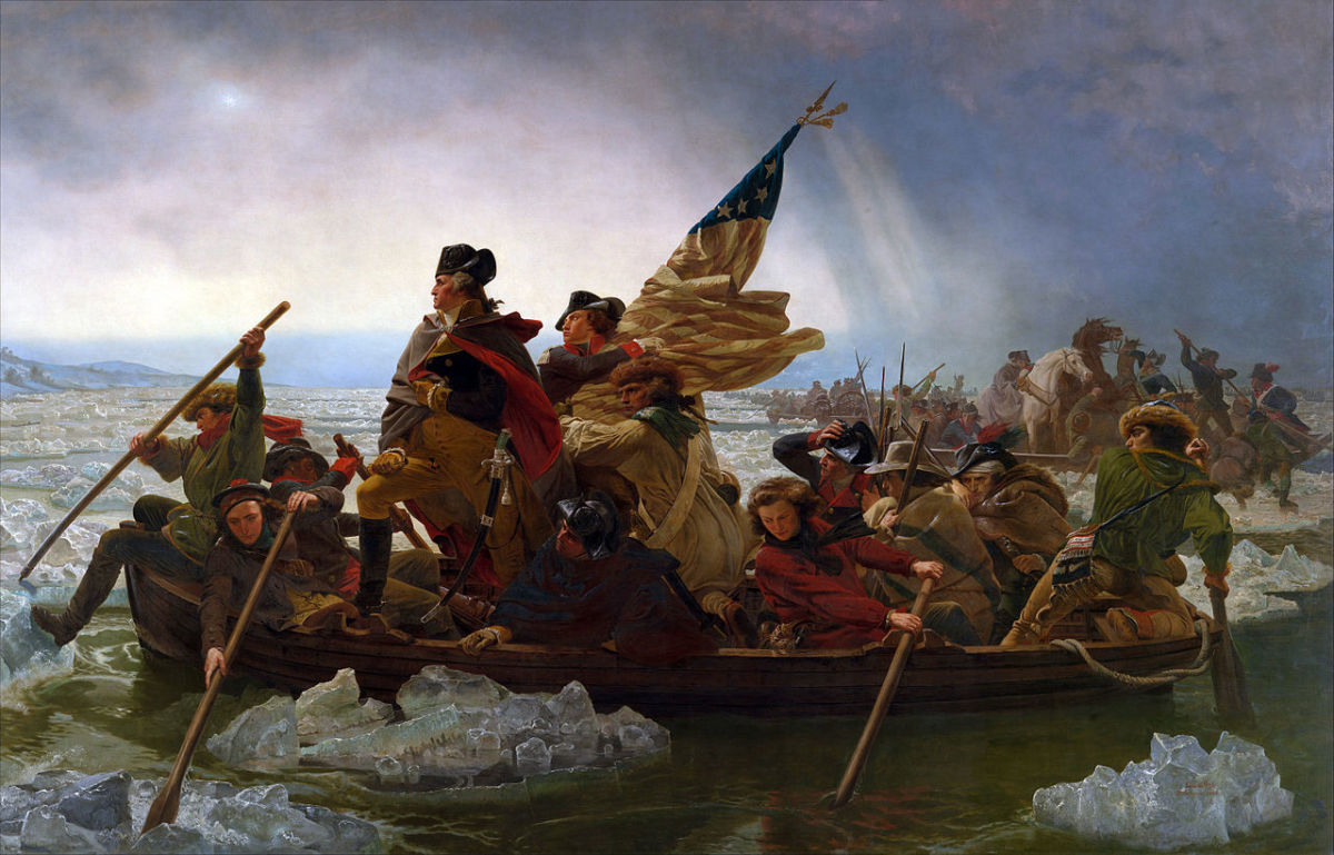 "Painting ""Washington Crossing the Delaware,"" an 1851 oil-on-canvas painting by the German American artist Emanuel Leutze. According to the 1853 exhibition catalog, the man standing next to Washington and holding the flag is Lieutenant James Monroe."