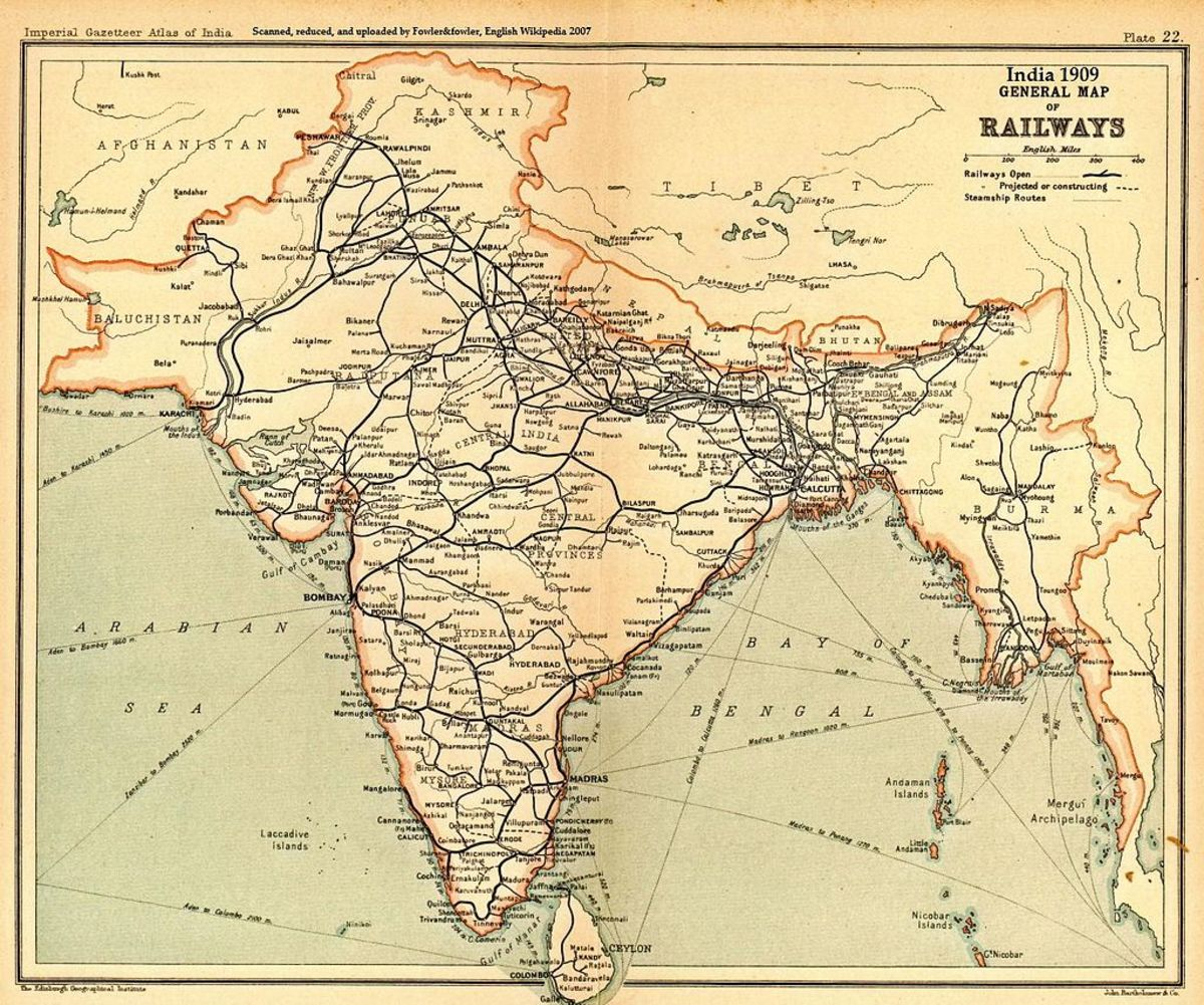 Indian railroad map : the British loved railroads.