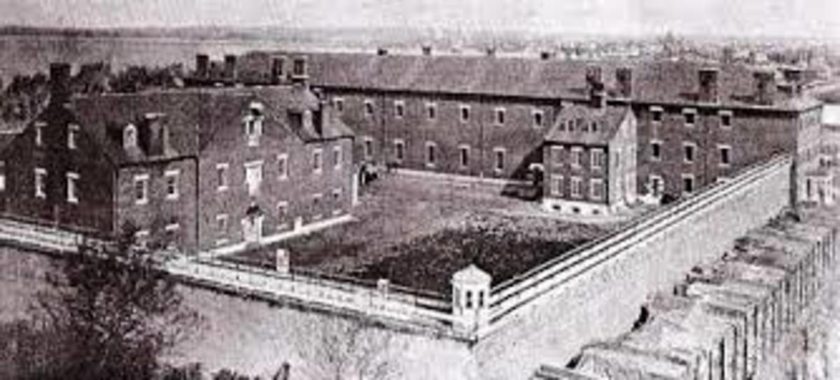 Washington Arsenal Penitentiary, where Mary Surratt was held, tried, and executed.