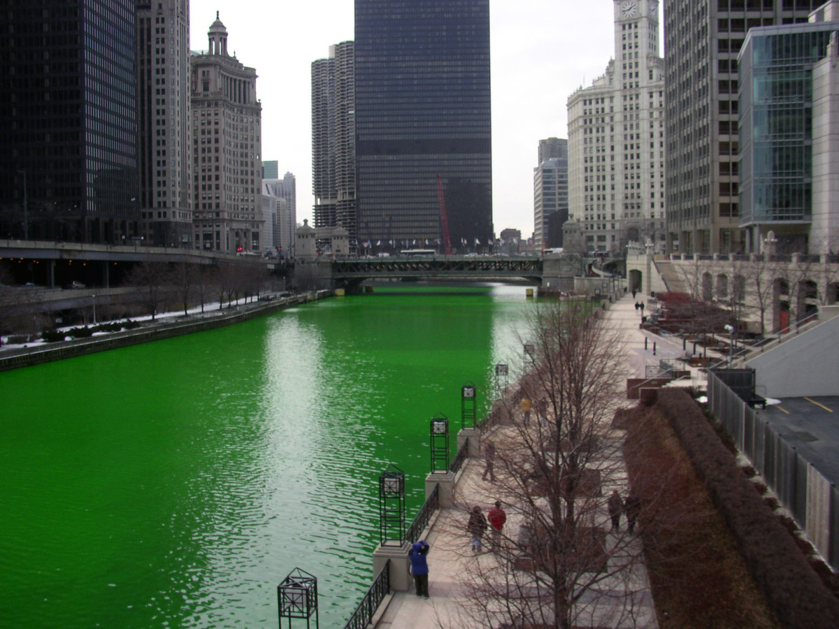 The Chicago River, shown here dyed green for St. Patrick's Day.