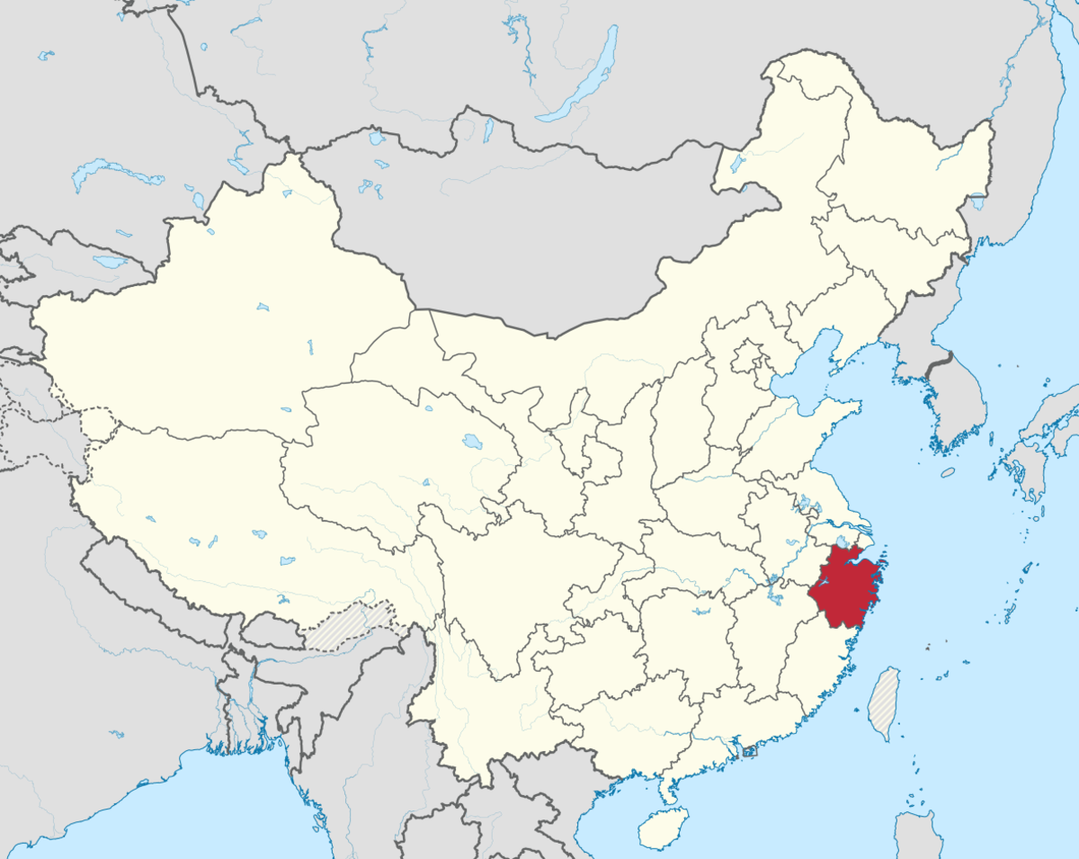 Zhejiang Province's location in China.