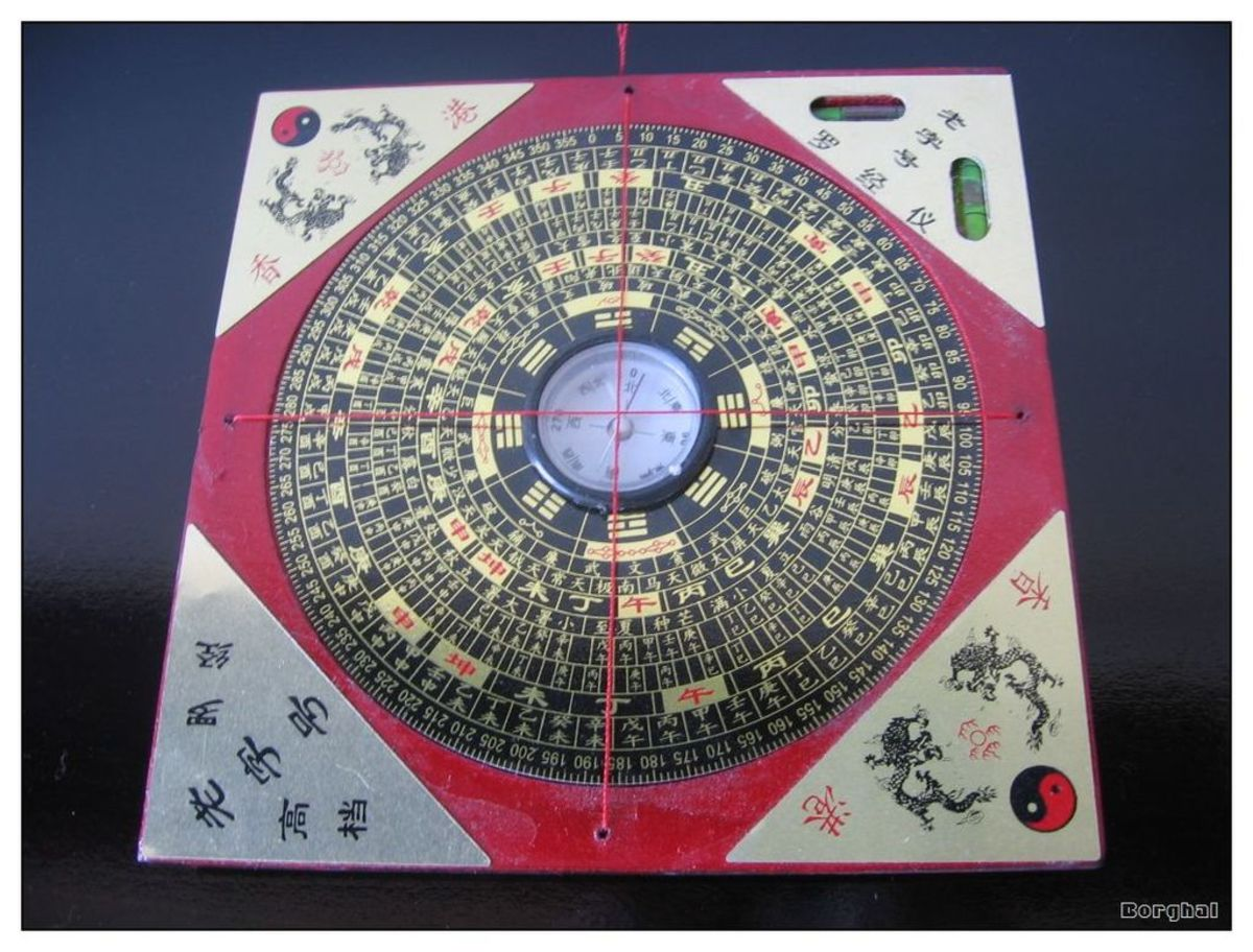 A Feng Shui compass used in geomancy to appropriately site buildings in line with mystical principles.