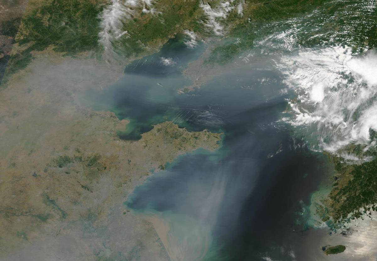 The vast clouds of pollution from China spiral off its coast into Korea : during the pre-capitalist era, China was too poor to produce such a huge amount of noxious fumes.