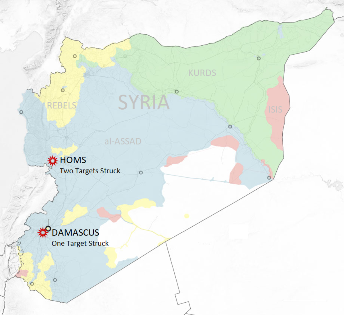 Situation in Syria, as of April 2018. Red stars indicate targets of the joint strikes.